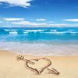 Открытка Сердце на песке